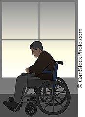 Wheelchair Bound - Man in wheelchair is suffering depression