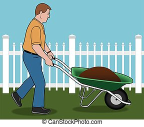 Yard Work - Man is pushing a wheelbarrow load of dirt