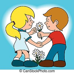 Young Love - Boy is presenting flowers to his sweetheart
