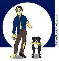 Zombie and his dog - Zombie is staggering through the night...