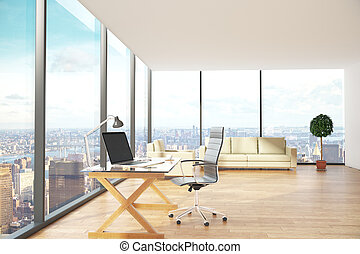 Contemporary office with city view side