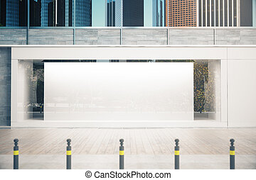 Storefront with banner - Empty glass storefront with balnk...