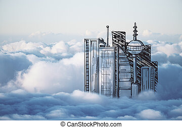 Urbanization concept - Abstract drawn city in cloudy sky....
