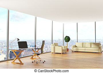 Contemporary office with city view