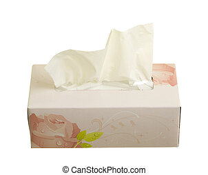 Facial Tissues - Box with facial tissues; isolated on white...