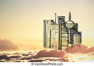 Urbanization concept - Abstract drawn city in cloudy sky...