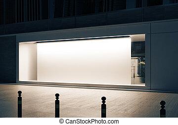 shopfront, manifesto, bianco, lato