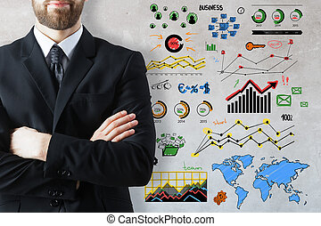 Accounting concept - Businessman with folded arms on...
