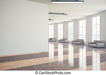 Hall with blank wall - Side view of modern hall with blank...