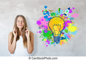 Successful startup ideas - Happy young girl with crossed...
