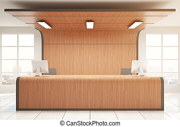 Wooden reception - Front view of modern wooden reception in...