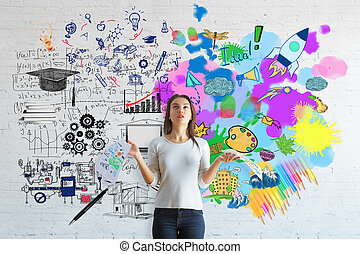 Creative and analytical thinking concept - Confused european...