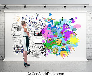Creative and analytical thinking concept. Side view of...