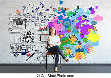 Creative and analytical thinking concept - Thoughtful young...