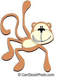 smiling monkey - isolated cartoon smiling monkey, individual...