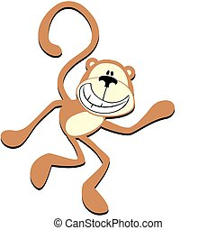 funny monkey - isolated cartoon smiling monkey, individual...