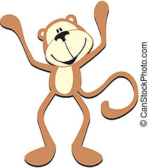 happy cute monkey - isolated cartoon happy monkey,...