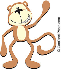 smiling monkey greeting - isolated cartoon smiling monkey,...