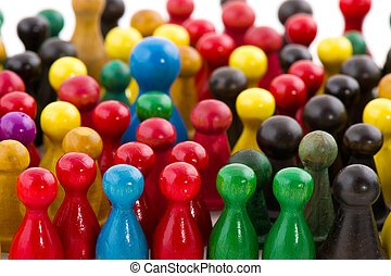 Abstract crowd - Large group of people in many colors in...