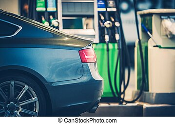 Gas Station Car Refueling. Purchasing Gasoline or Bio Diesel...