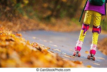 patinaje, primero, rodillo, tiempo