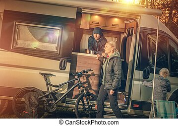 Family Motorhome Camping. Young Modern Caucasian Family with...