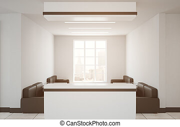 Interior with reception - Modern interior with city view and...