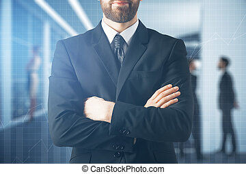 Worker concept - Close up of businessman with folded arms on...