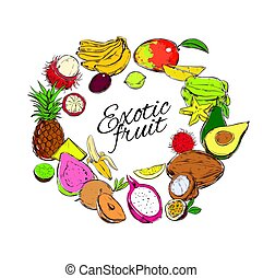Colorful Natural Tropical Fruits Round Concept - Colorful...