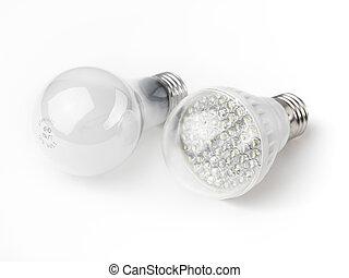 LED and Incandescent Light Bulbs - LED and a regular...