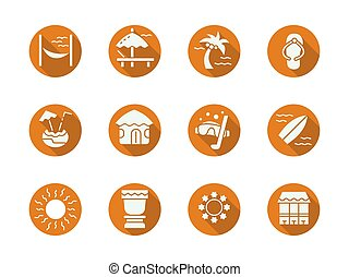 Tropical resort round flat color vector icons set