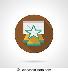 Star on stage brown round vector icon