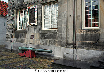 Old canon in front of city hall - Netherlands, Enkhuizen...