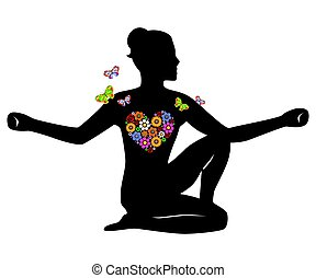 meditation girl flowers - the illustration on the theme of...