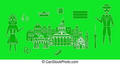the germany set - set in the style of a flat design on the...
