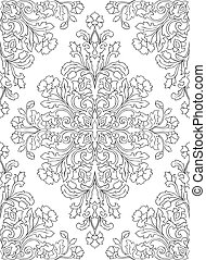 Pattern with ornamental flowers. - Black and white floral...