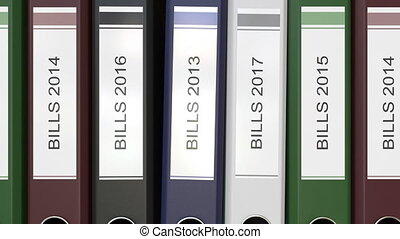 Multiple office folders with Bills text labels 3D rendering...