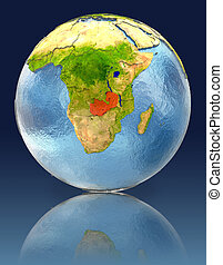 Zambia on globe with reflection. Illustration with detailed...