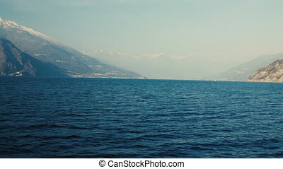 Panoramic view of Lake Como, the Alps above.