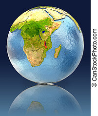 Malawi on globe with reflection. Illustration with detailed...