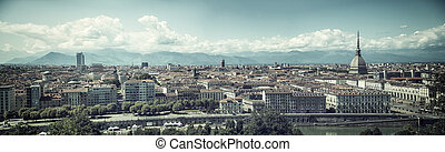 Panoramic view of Turin city center, in Italy, in a sunny...