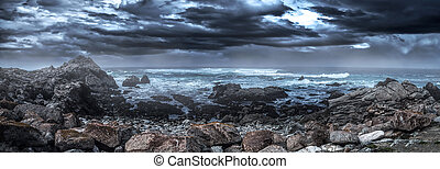 Pebble Beach Coast Before Coming Storm - Foggy view of...