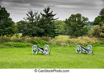 Cannons at Gettysburg - Two cannons in a field at Gettysburg...