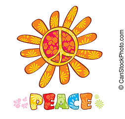 Hippie peace symbol, vector illustration