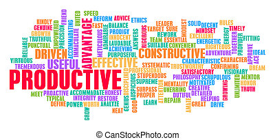Productive Word Cloud Concept on White