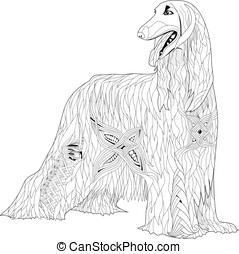 Zentangle stylized Afghan hound. Hand Drawn lace vector...