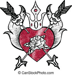 royal heart emblem design