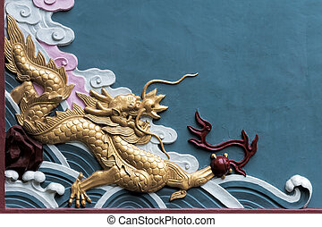 Dragons that decorate the Qingyang Temple in Chengdu, China