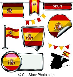 Glossy icons with flag of Span - Vector glossy icons of...