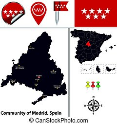 Community of Madrid - Vector map of community of Madrid with...